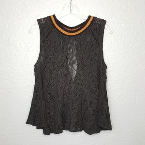 Free People Black Lace High Neck Tank Size S